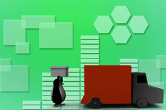 3d penguin carrying cargo Illustration Royalty Free Stock Images
