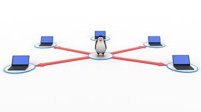 3d penguin in center of computer network concept Stock Image