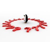 3d penguin in center of question mark around him concept Royalty Free Stock Images