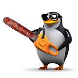 3d Penguin with a chainsaw Royalty Free Stock Photos