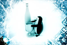 3d penguin with champagne bottle and glass illustration Stock Photo