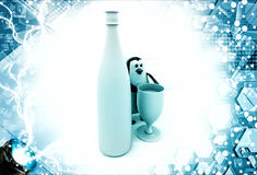 3d penguin with champagne bottle and glass illustration Royalty Free Stock Photos