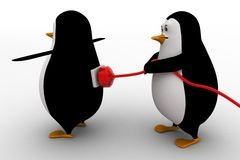 3d penguin charge other penguin with electric plug concept Stock Photo
