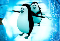 3d penguin charge other penguin with electric plug illustration Royalty Free Stock Image