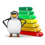 3d Penguin checks his energy usage vector illustration