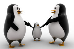 3d penguin with child concept Stock Photography