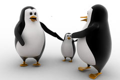 3d penguin with child concept Stock Images