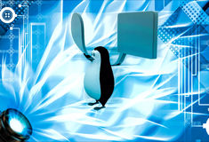 3d penguin with circular and square chat bubble illustration Royalty Free Stock Images