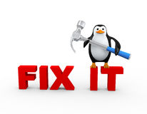 3d penguin with claw hammer on fix it. 3d illustration of cute penguin with metallic shiny claw hammer standing on text fix it stock illustration