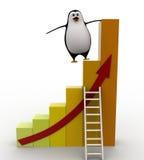 3d penguin climb bar graph concept Royalty Free Stock Image