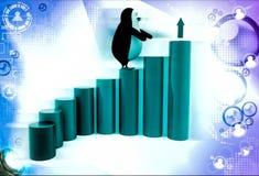 3d penguin climb bar graph dollar illustration Stock Images