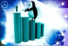 3d penguin climb bar graph dollar illustration Stock Photos