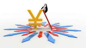 3d penguin climb big japanese yen  currency using ladder symbol in center of arrows in all directionsconcept Stock Images