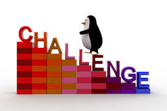 3d penguin climb challenge on stair graph concept Stock Image