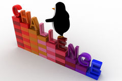 3d penguin climb challenge on stair graph concept Royalty Free Stock Photos