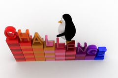 3d penguin climb challenge on stair graph concept Royalty Free Stock Photo