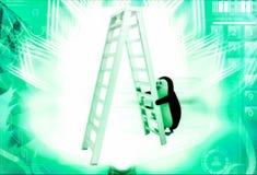 3d penguin climb double sided ladder illustration Stock Image