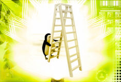 3d penguin climb double sided ladder illustration Royalty Free Stock Photo