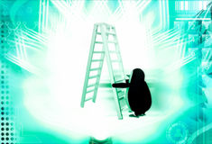 3d penguin climb double sided ladder illustration Stock Photography