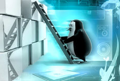3d penguin climb ladder on wall illustration Royalty Free Stock Images