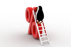 3d penguin climb percentage symbol with ladder concept Royalty Free Stock Photography