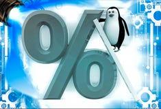 3d penguin climb percentage symbol with ladder illustation Royalty Free Stock Image