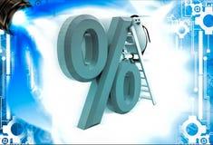 3d penguin climb percentage symbol with ladder illustation Stock Photo