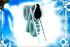 3d penguin climb percentage symbol with ladder illustation Stock Photography