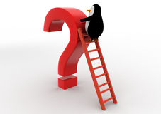 3d penguin climb red question mark with ladder concept Stock Photos