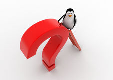 3d penguin climb red question mark with ladder concept Royalty Free Stock Photo