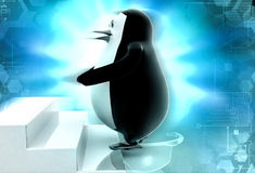 3d penguin climb stairs illustration Stock Images