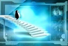 3d penguin climb stairs illustration Stock Photo