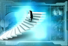 3d penguin climb stairs illustration Royalty Free Stock Photography