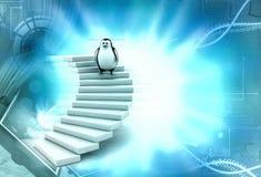 3d penguin climb stairs illustration Royalty Free Stock Photos