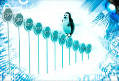 3d penguin climbing stop sign boards illustration Royalty Free Stock Image