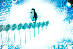 3d penguin climbing stop sign boards illustration Royalty Free Stock Photography