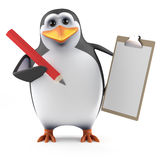 3d Penguin with clipboard Stock Images