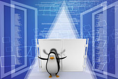 3d penguin with closed door illustration Stock Photos