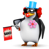 3d Penguin clown with joke gun Stock Images