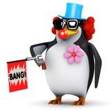 3d Penguin clown with joke gun Stock Images