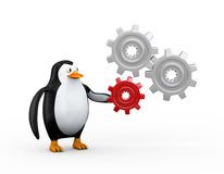3d penguin and cog wheel gears Royalty Free Stock Photo