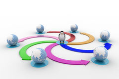 3d penguin with colourful circular arrow toward earth model concept Stock Image