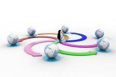 3d penguin with colourful circular arrow toward earth model concept Stock Photos