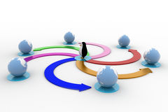 3d penguin with colourful circular arrow toward earth model concept Royalty Free Stock Image
