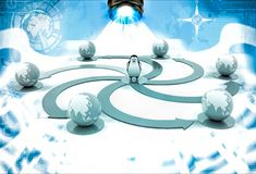 3d penguin with colourful circular arrow toward earth model illustration Royalty Free Stock Images