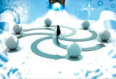 3d penguin with colourful circular arrow toward earth model illustration Stock Images