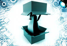3d penguin coming out of box illustration Royalty Free Stock Image