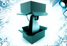 3d penguin coming out of box illustration Stock Photos