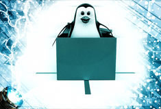3d penguin coming out of gift box illustration Royalty Free Stock Image