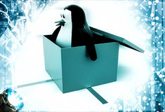 3d penguin coming out of gift box illustration Royalty Free Stock Photos